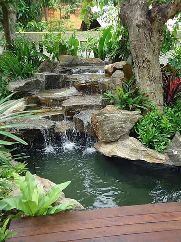 Tranquil Backyard Waterfalls-10-1 Kindesign