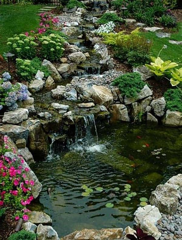 cool water garden waterfall design ideas | 53 Incredibly fabulous and tranquil backyard waterfalls