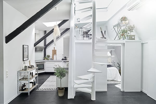 featured posts image for Visually intriguing Swedish apartment with sunlit interiors