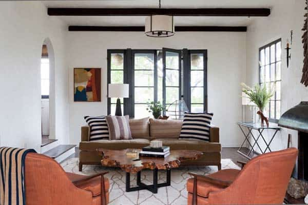 Stunning spanish colonial home in los feliz hills california for Spanish colonial revival living room