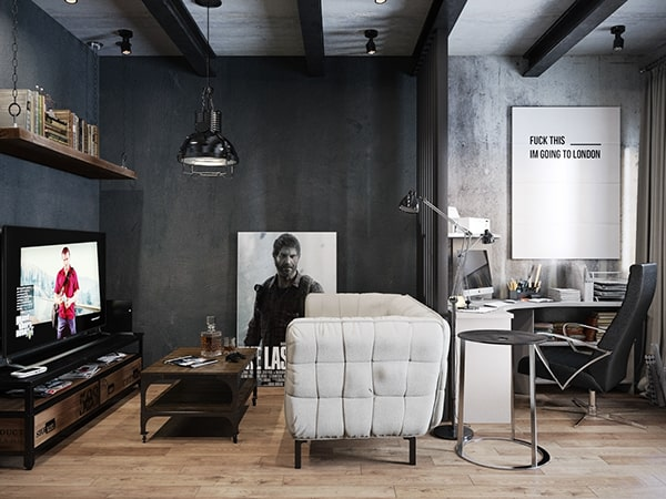 featured posts image for Dark and moody modern industrial apartment in Russia