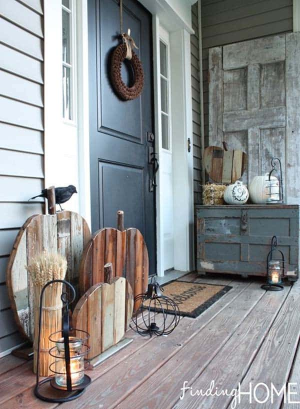 48 Amazing Fallinspired Front Porch Decorating Ideas Best Fal Wood Furniture Decor