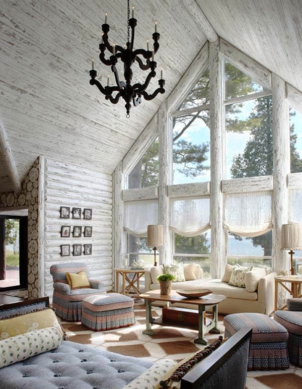 Charming Lakefront Log Cabin With Whitewashed Interiors Inspiration Log Homes Interior Designs Interior