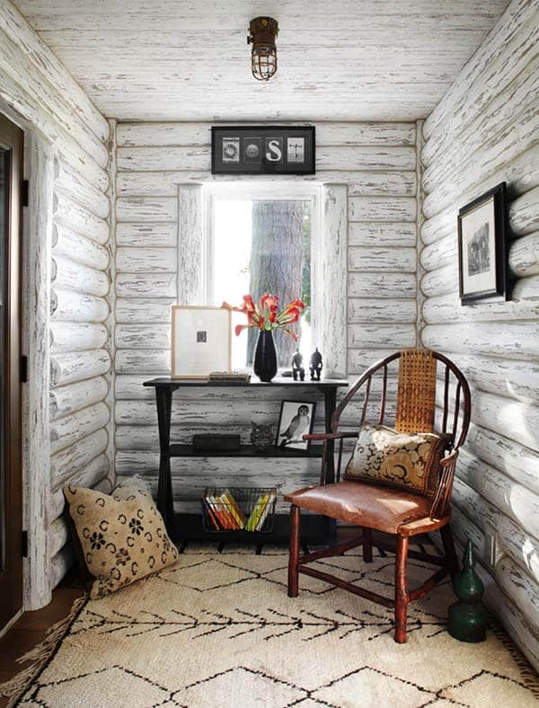 Charming Lakefront Log Cabin With Whitewashed Interiors