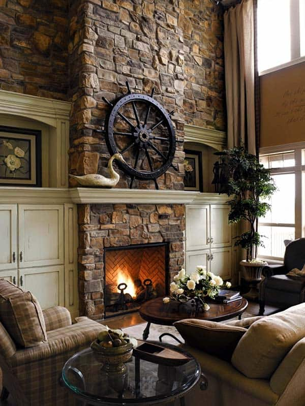 Furniture Stunning Stone Fireplaces With Wood Mantels Under
