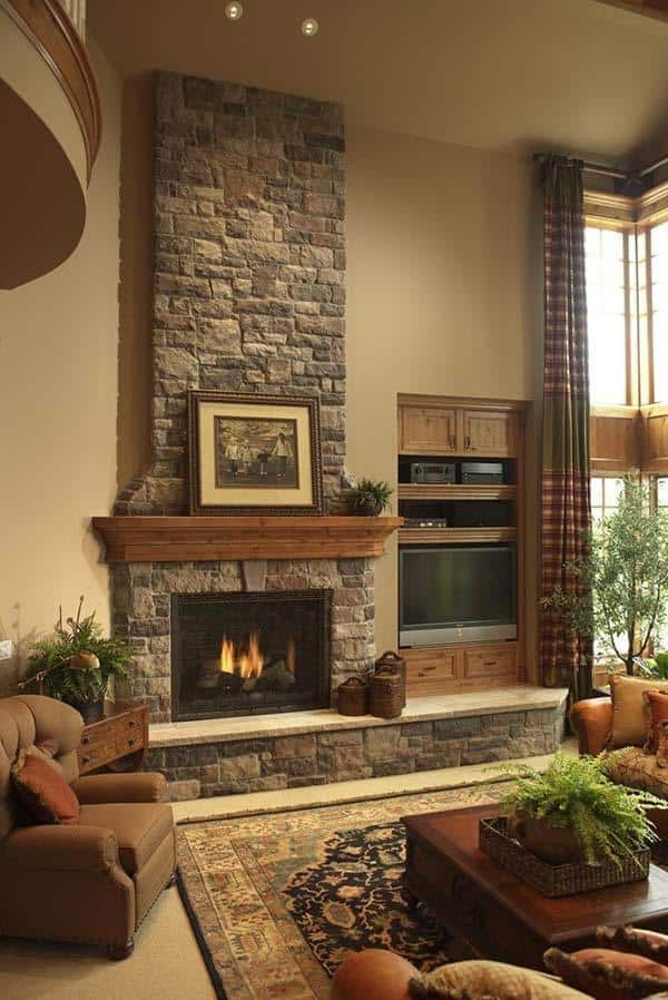 50 sensational stone fireplaces to warm your senses rh onekindesign com Stacked Stone Fireplace Ideas Stone Veneer Fireplace