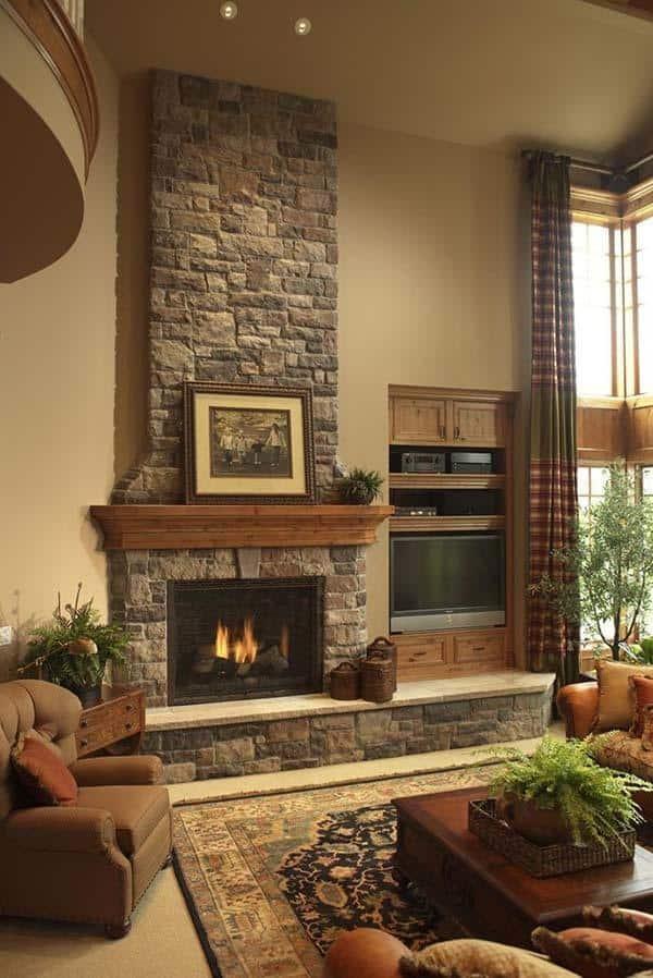 Astonishing 50 Sensational Stone Fireplaces To Warm Your Senses Download Free Architecture Designs Grimeyleaguecom