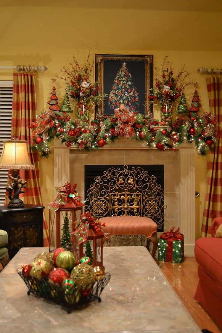 Charmant Christmas Mantel Decorating Ideas 21 1 Kindesign