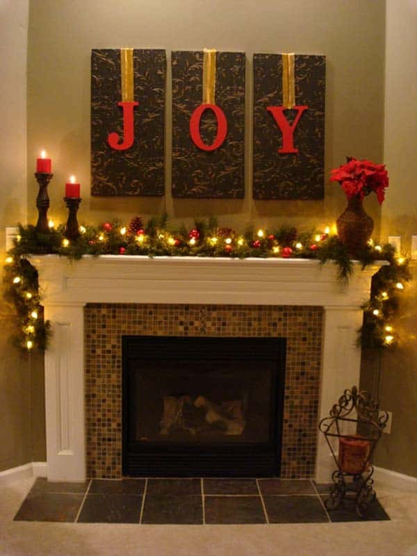 Christmas Mantel Decorating Ideas-36-1 Kindesign