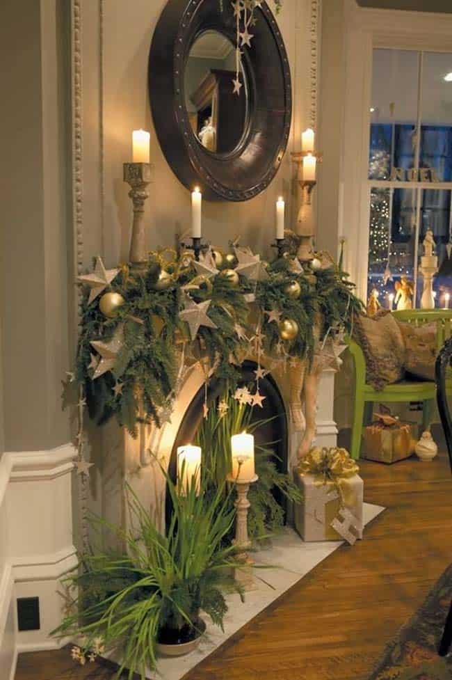 Christmas Mantel Decorating Ideas-49-1 Kindesign