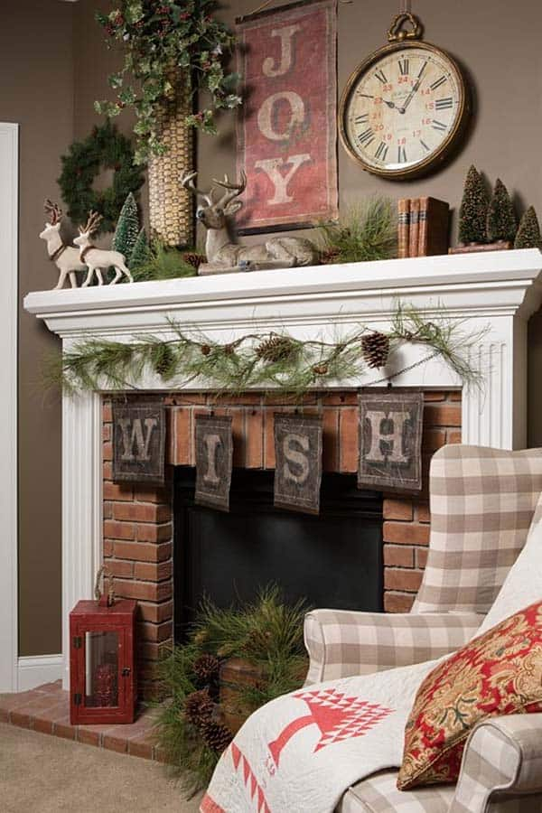 Christmas Mantel Decorating Ideas-53-1 Kindesign