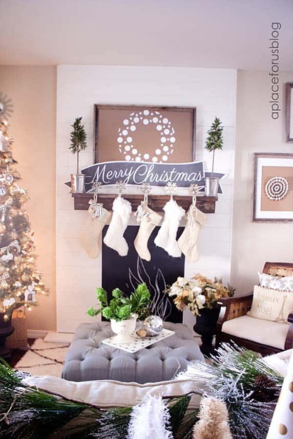 Christmas Mantel Decorating Ideas-54-1 Kindesign