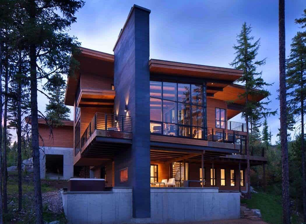 Enchanting mountain home offers treehouse feel in montana for Mountain modern design