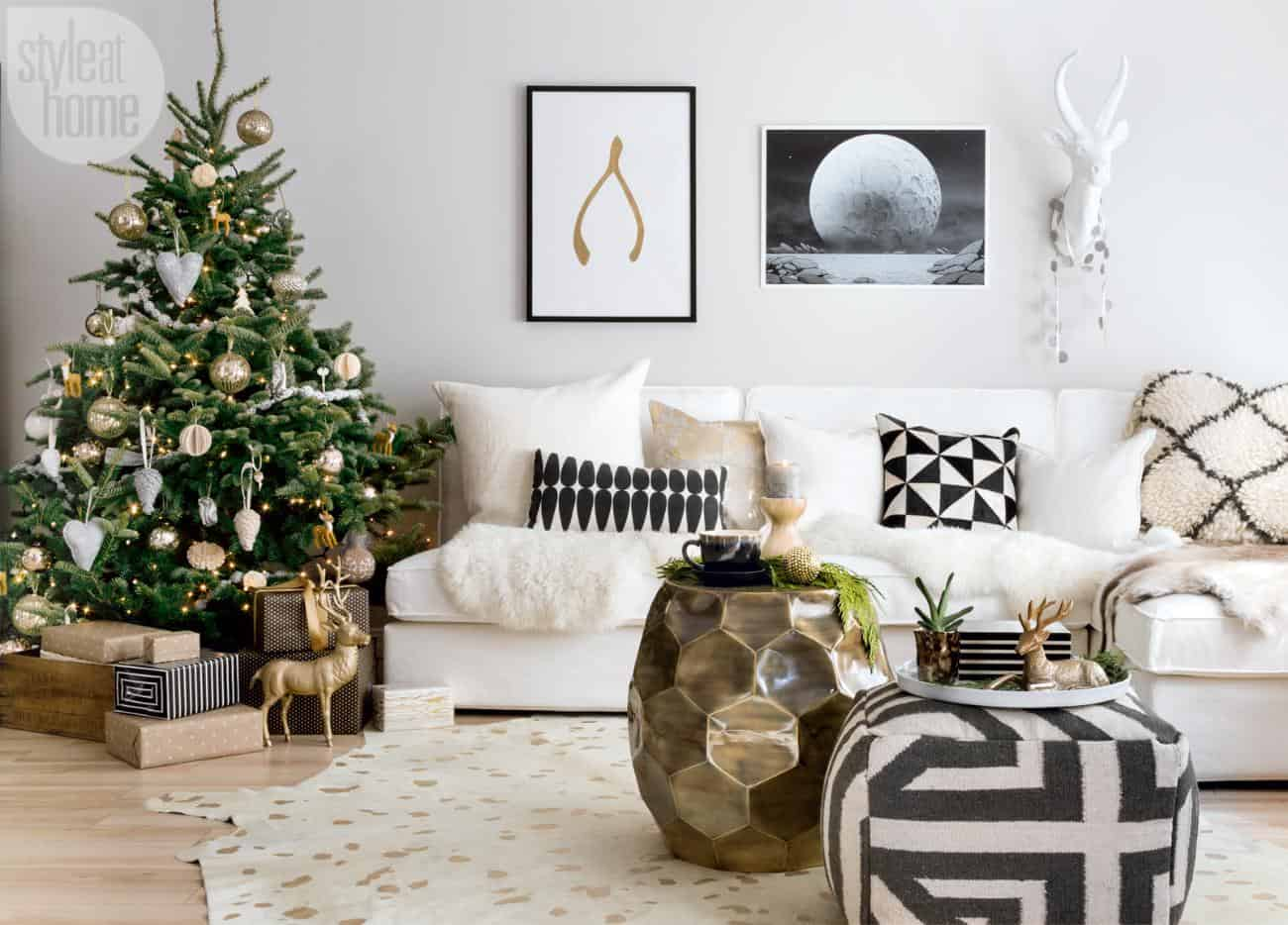 Christmas home in Ontario infused with Scandi-chic style