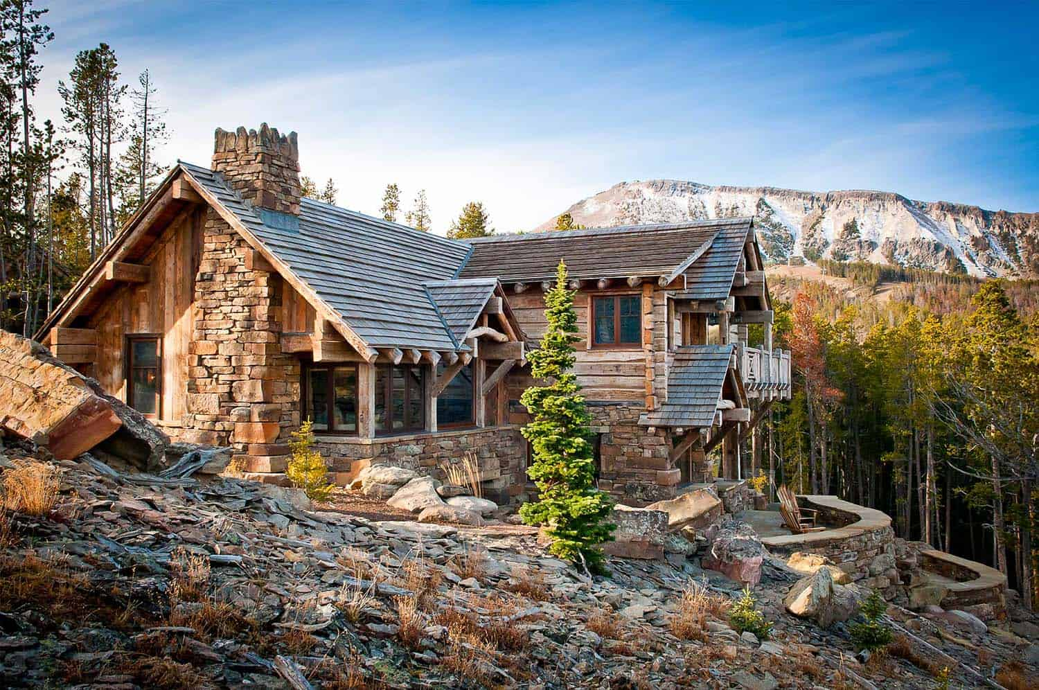 Nesting mountainside in big sky a rustic luxe oasis for Mtn house