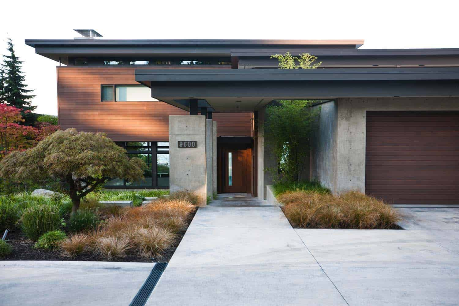 Contemporary mercer island lake house infused with asian for Modern exterior house entrance