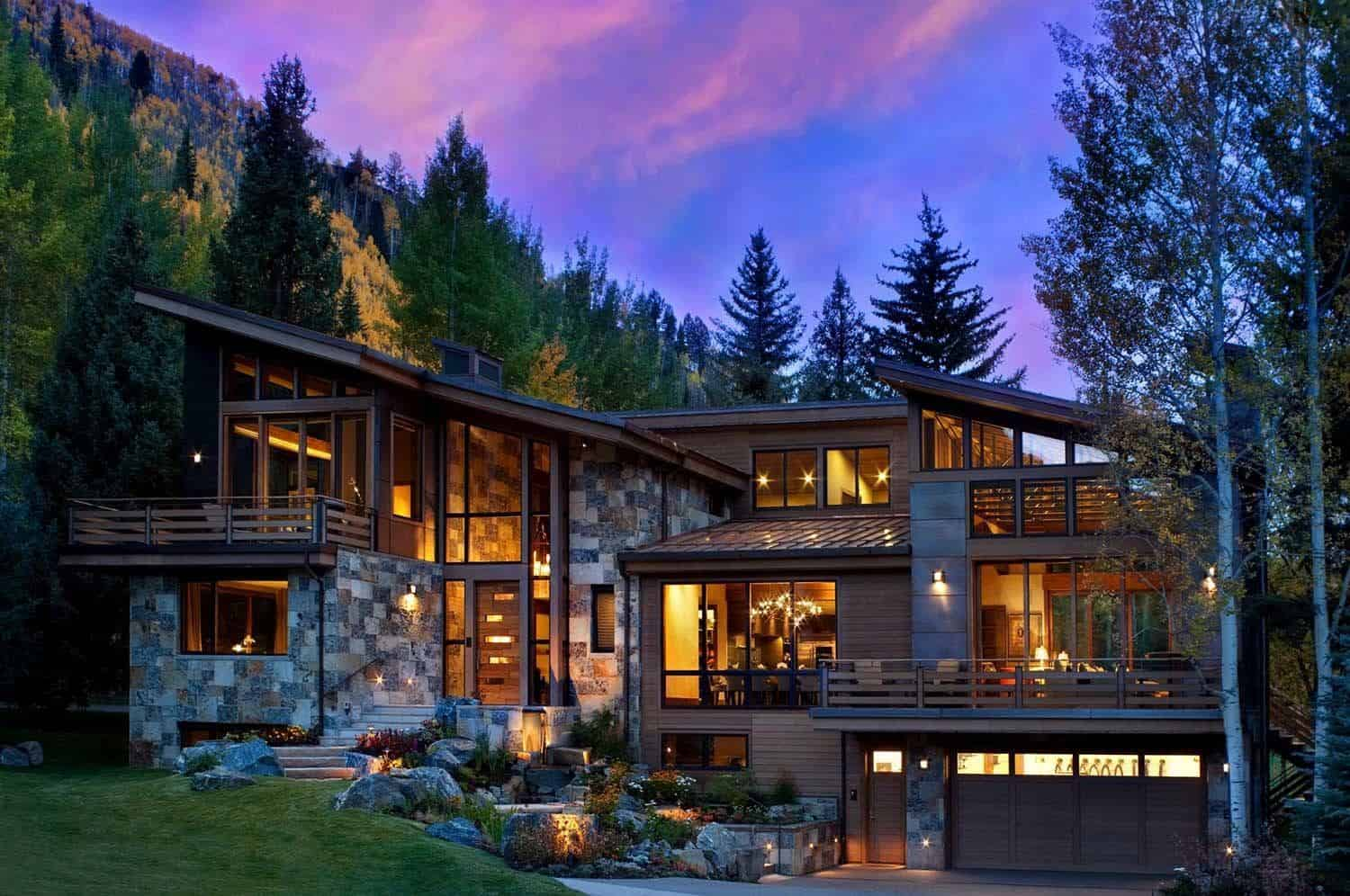 Captivating modern rustic home in the colorado mountains for Colorado mountain home plans
