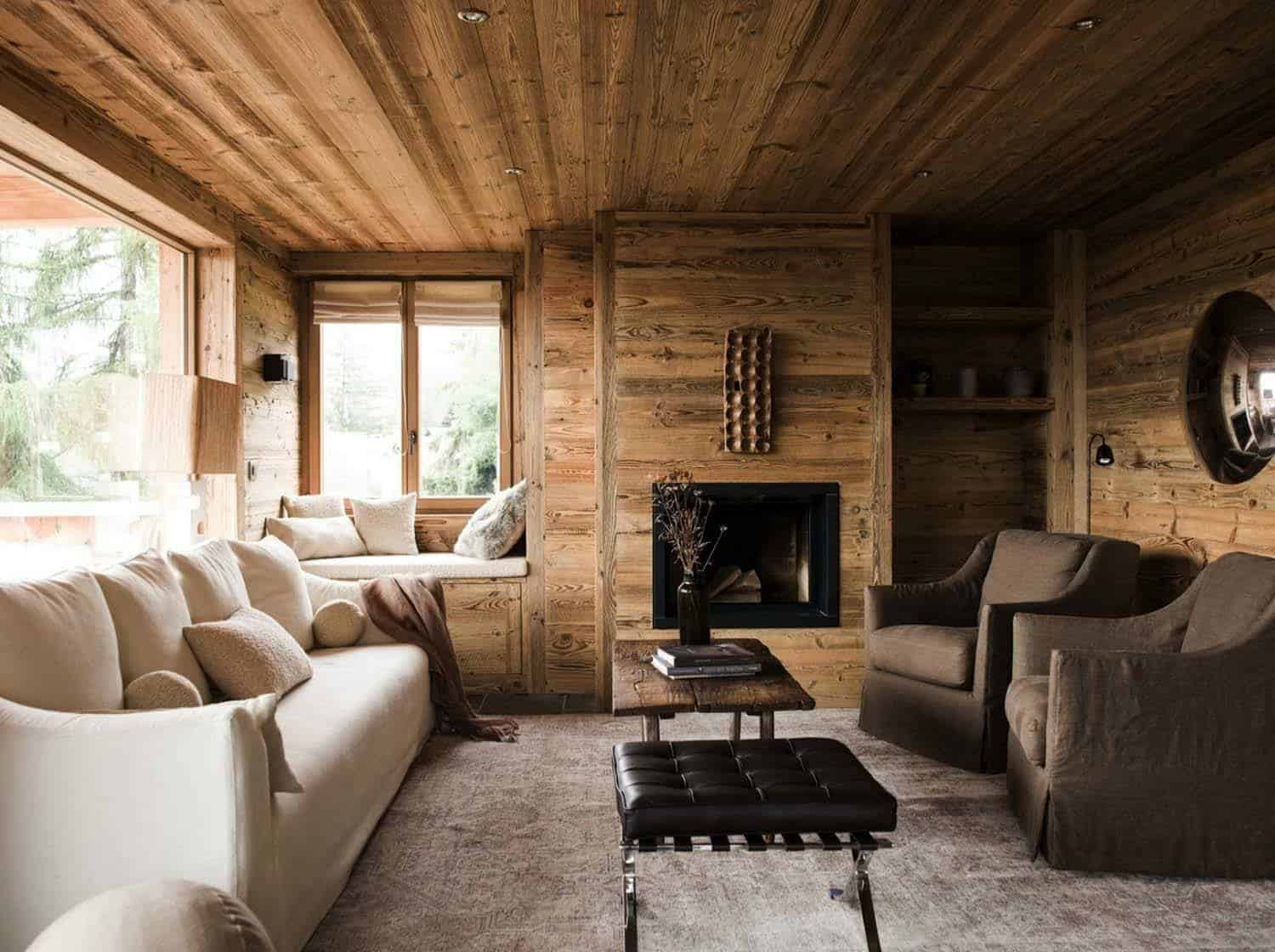 rustic mountain chalet in switzerland provides relaxed interiors. Black Bedroom Furniture Sets. Home Design Ideas