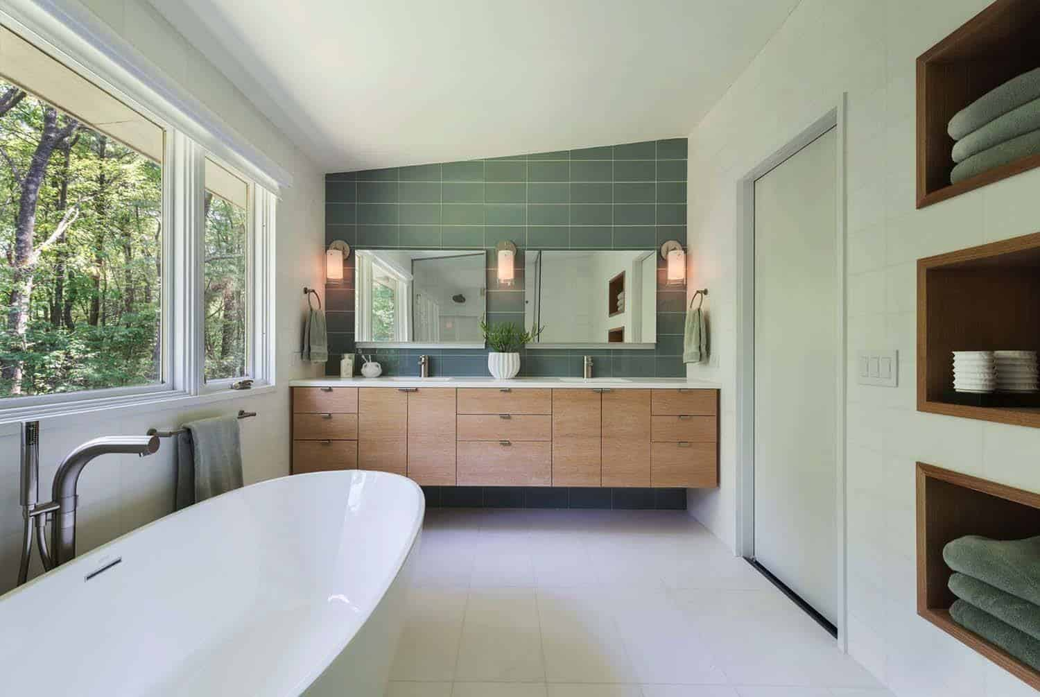 Amazing Midcentury Modern Bathrooms To Soak Your Senses - Best flooring for entire house