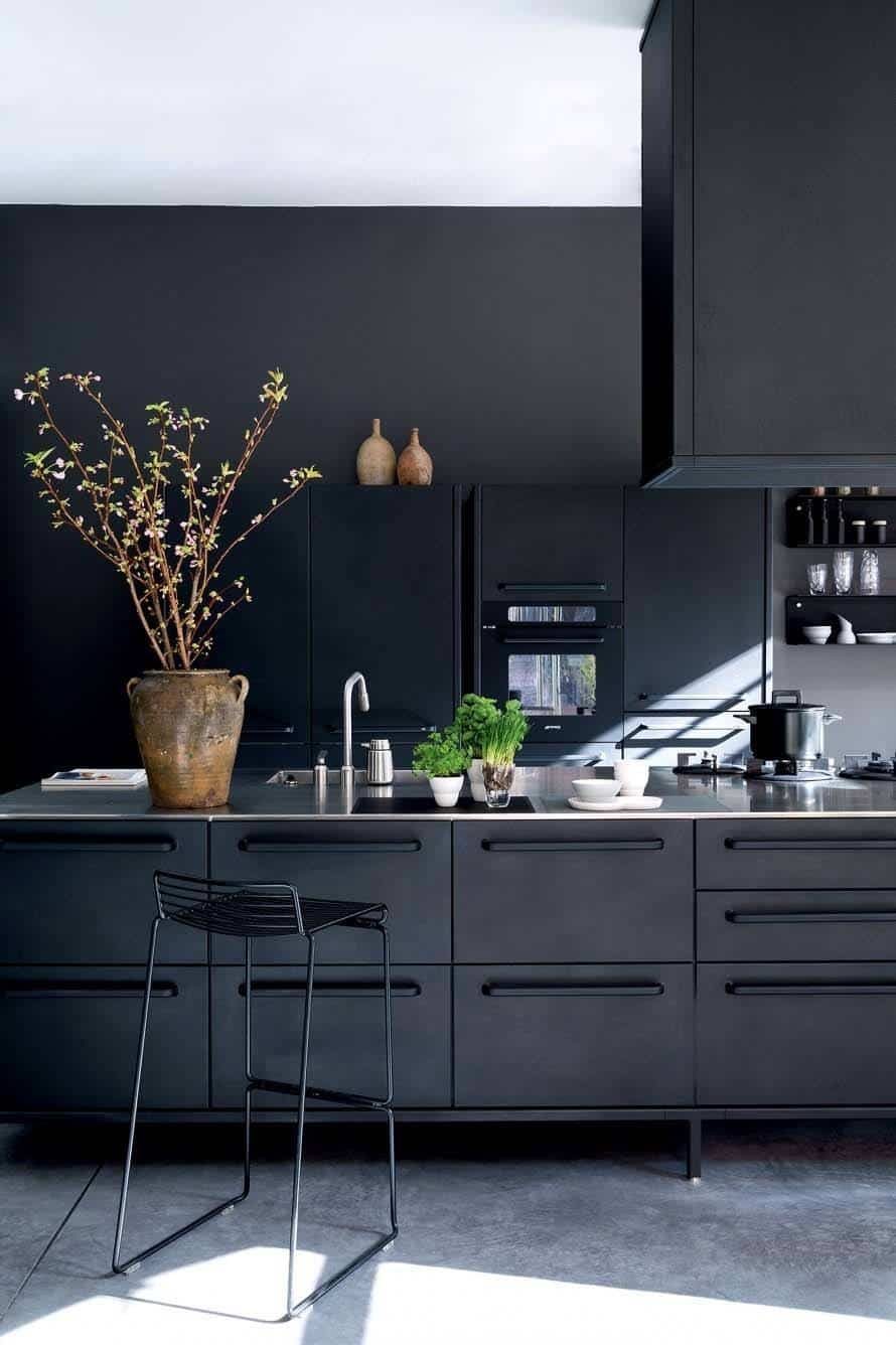 Dramatic Black Kitchen Ideas-41-1 Kindesign