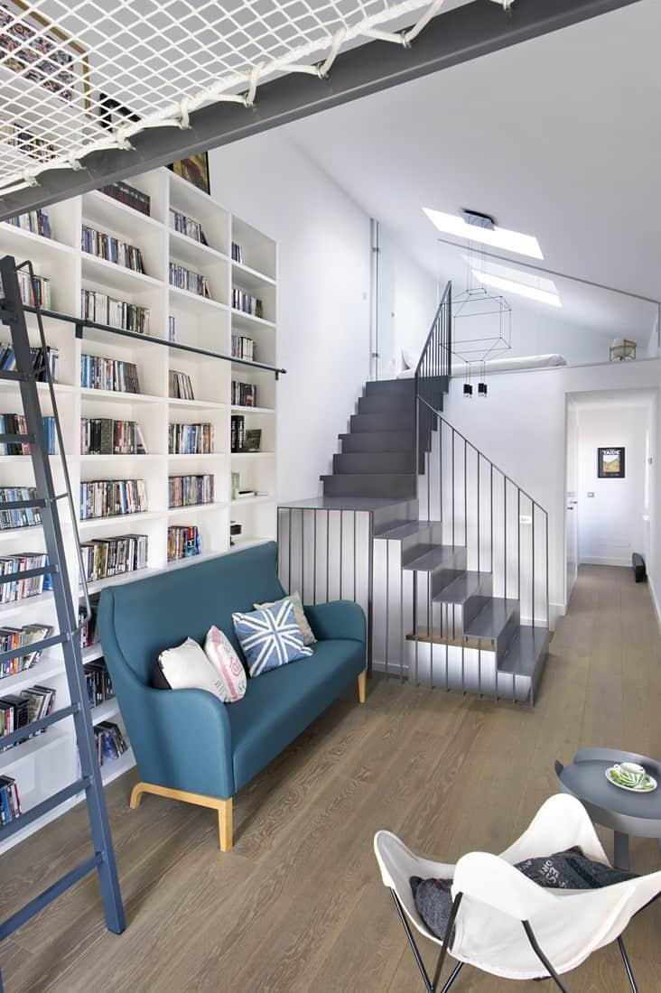 Contemporary Home Library Design: Inspiring Dwelling In Madrid Displaying A Cool Home Library