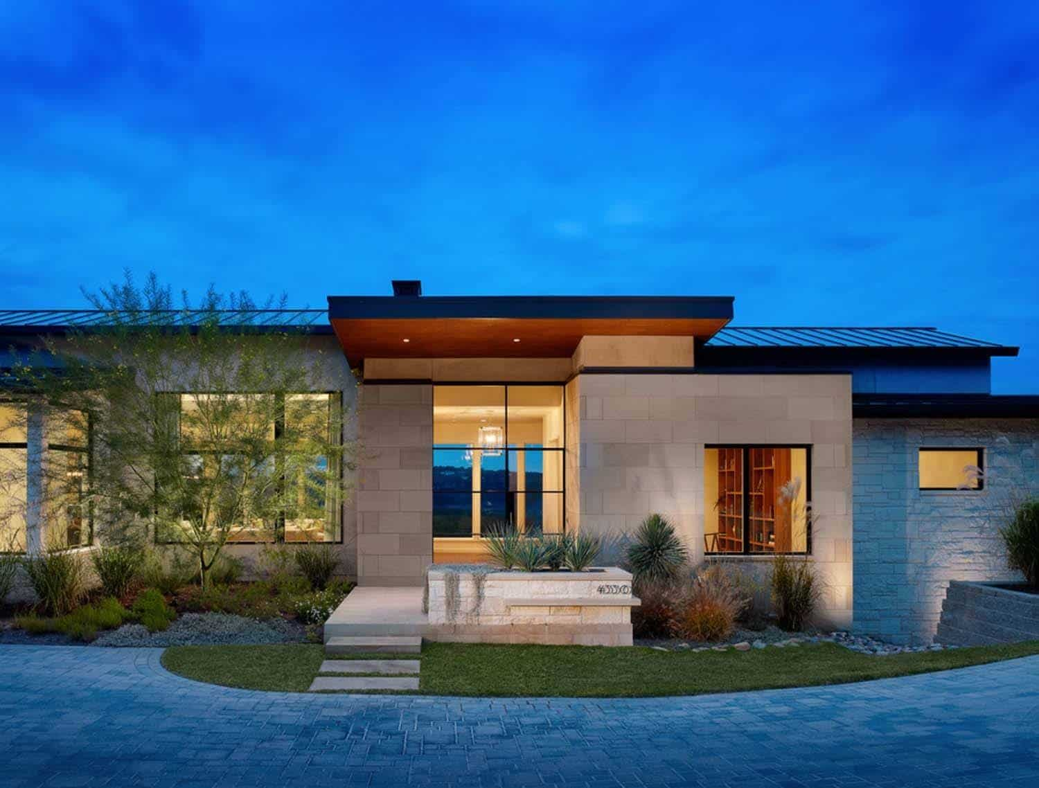 Expansive yet inviting home has sweeping texas hill for Contemporary modern style house plans