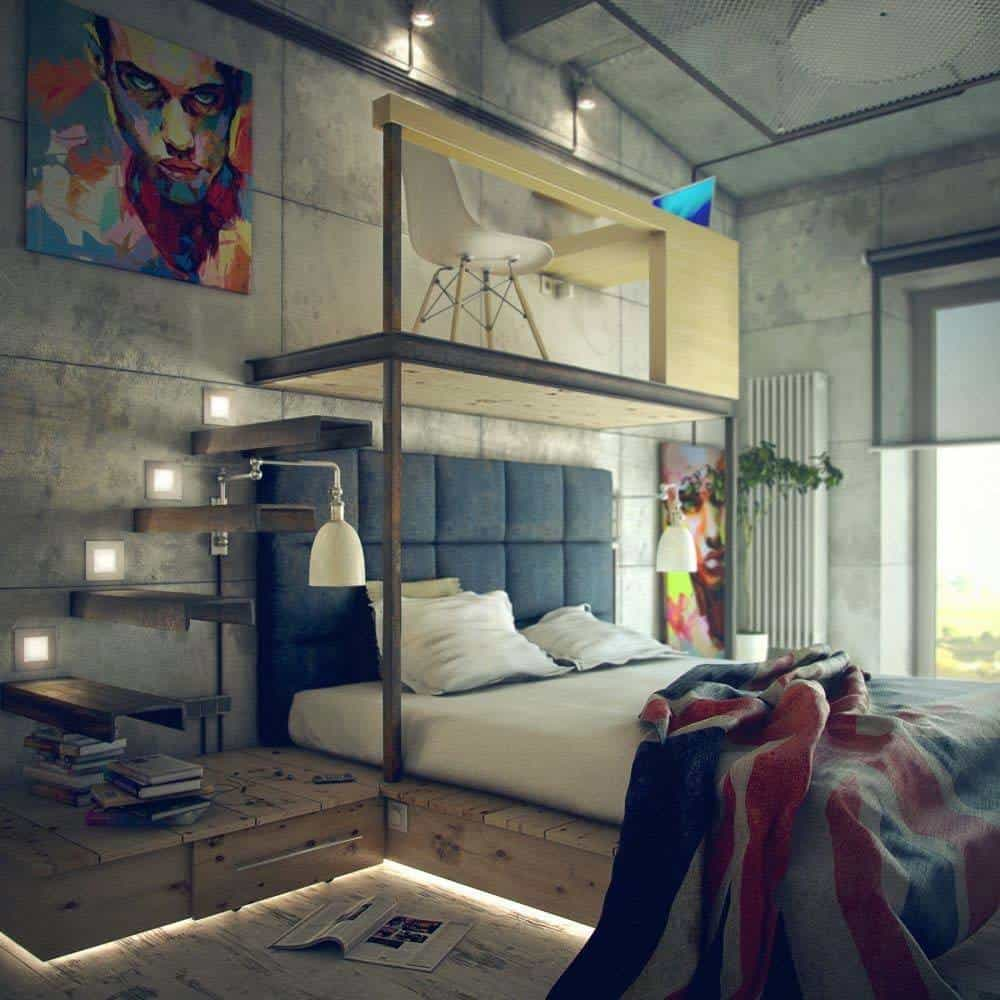 35 edgy industrial style bedrooms creating a statement for Lounge decor ideas pictures