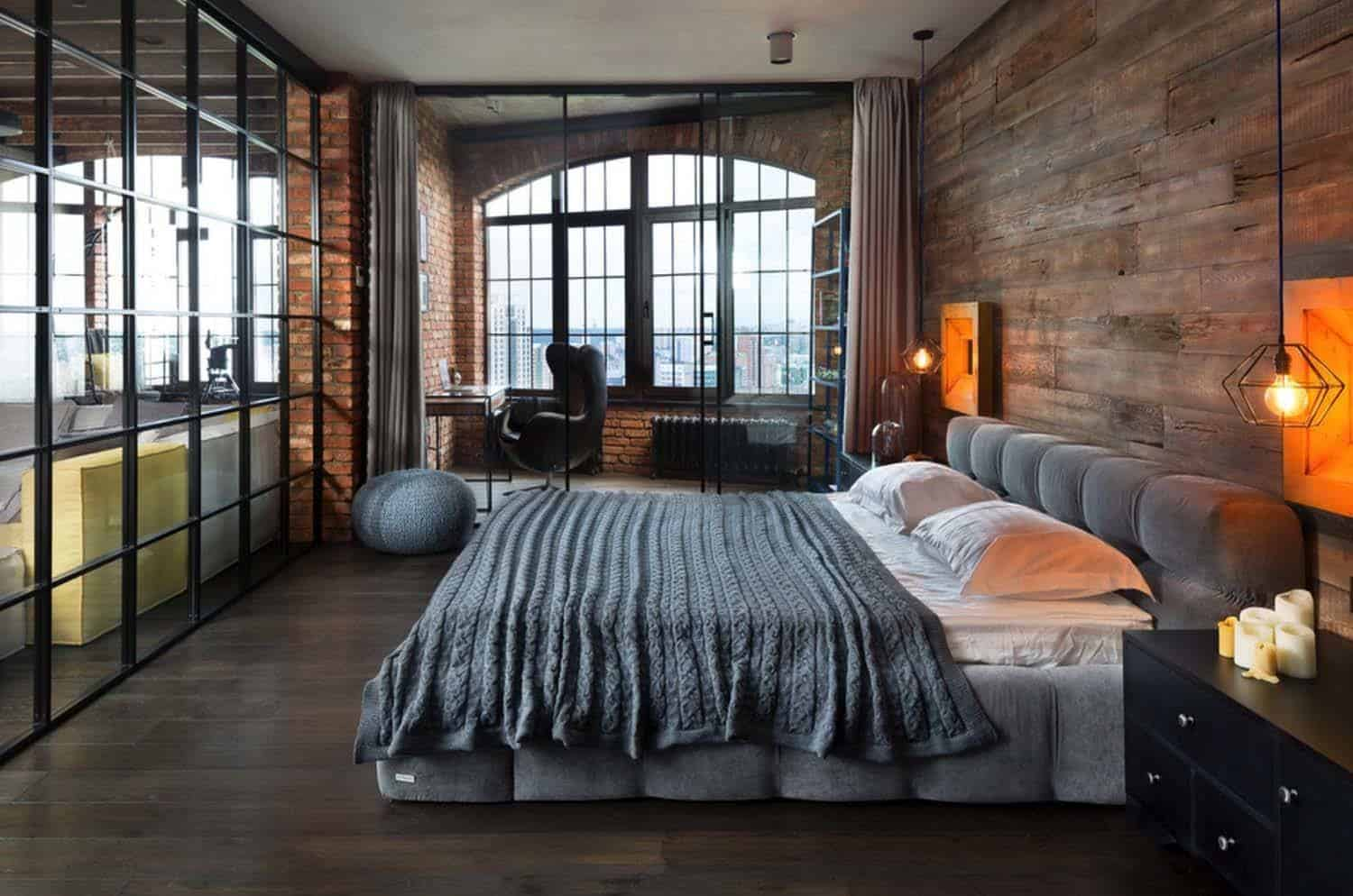 Industrial Style Bedroom Design Ideas-02-1 Kindesign