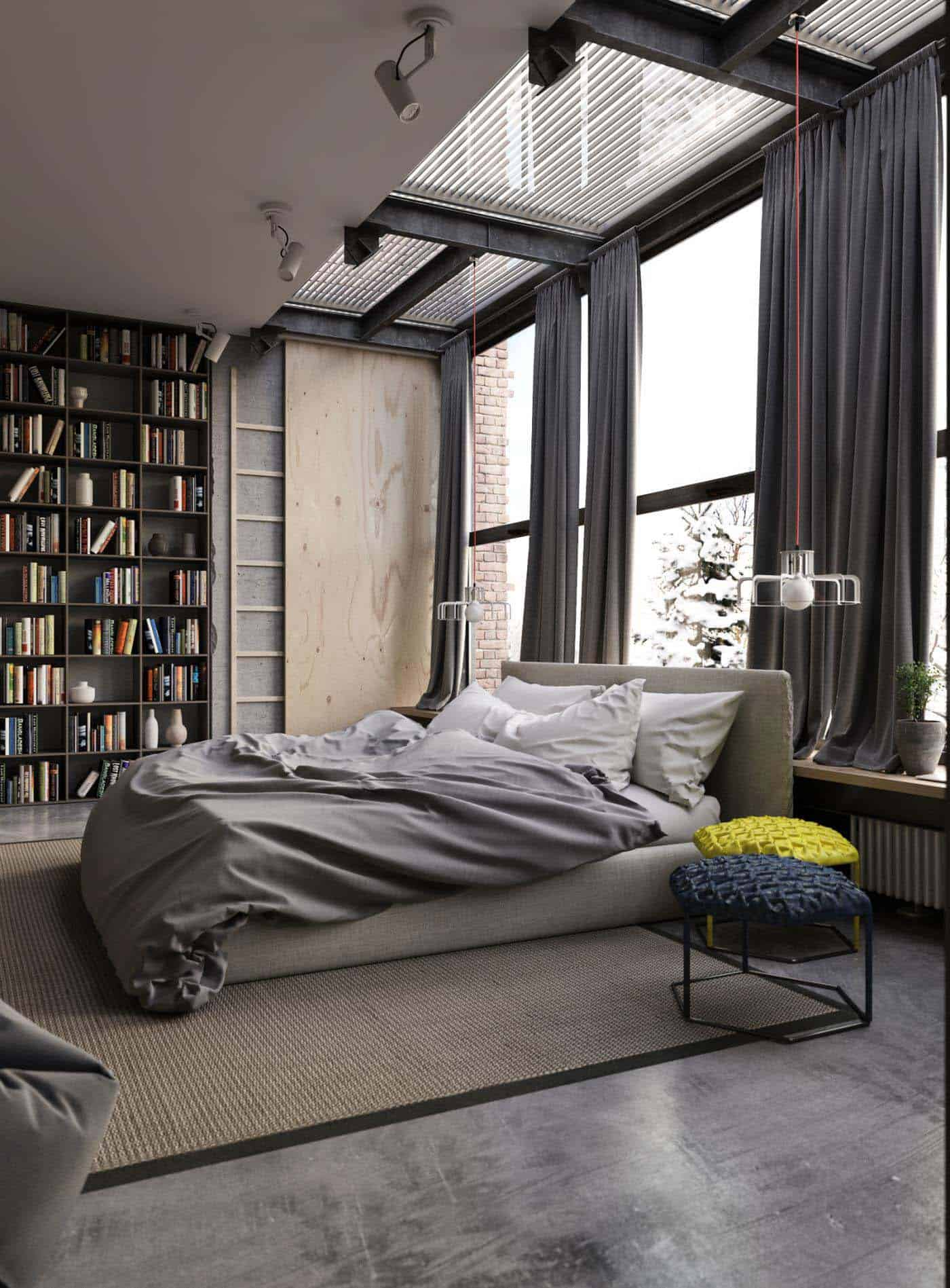 Industrial Style Bedroom Design Ideas-34-1 Kindesign