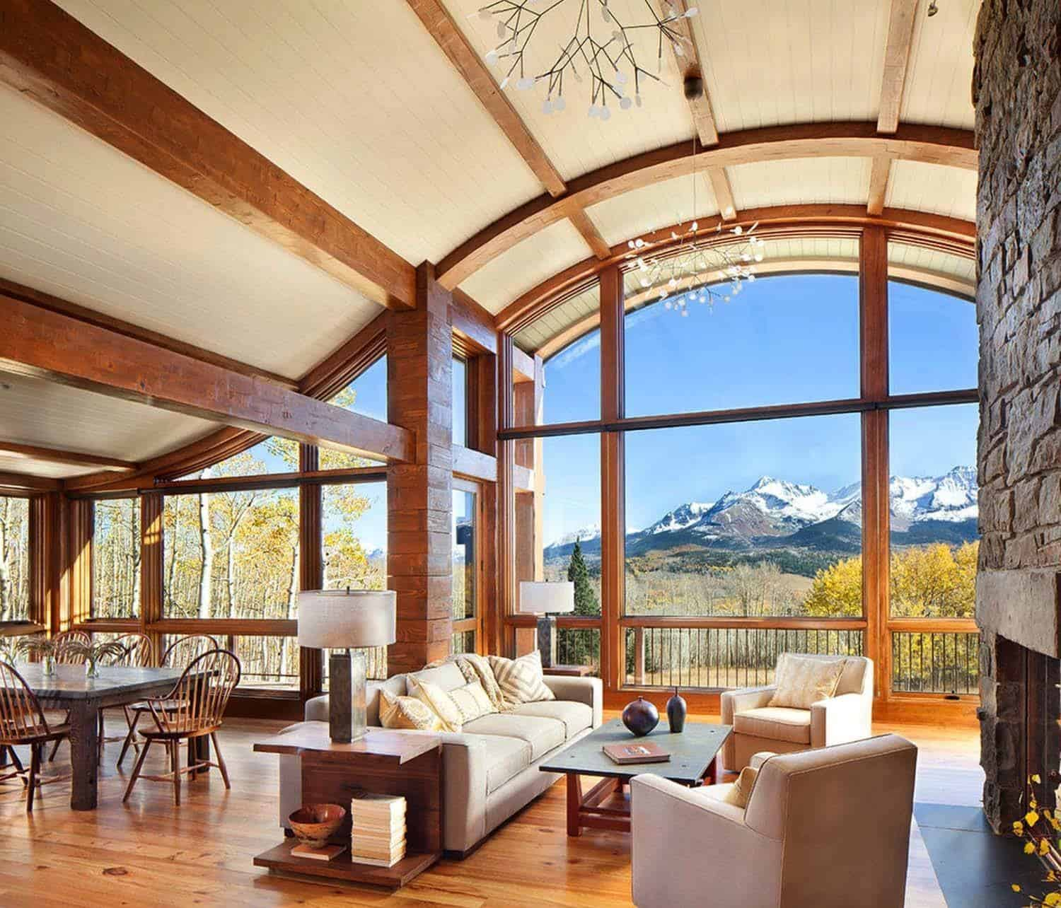 Colorado mountain cabin perfectly frames views of mount wilson for Mountain home designs colorado