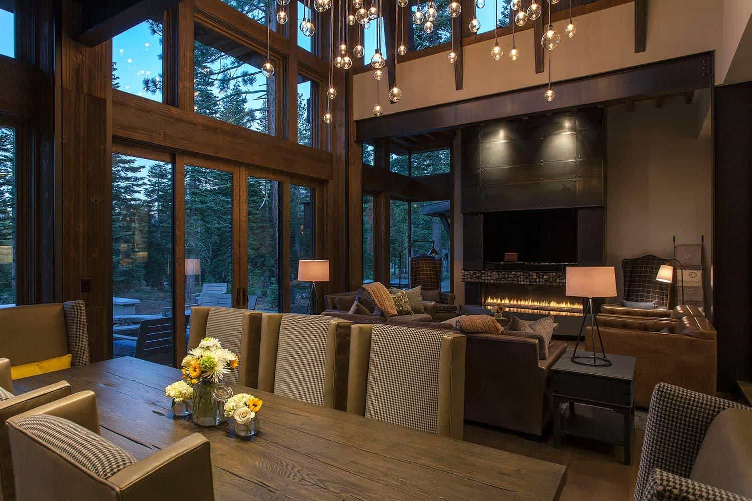 Lake tahoe getaway features contemporary barn aesthetic for Great room kitchen ideas