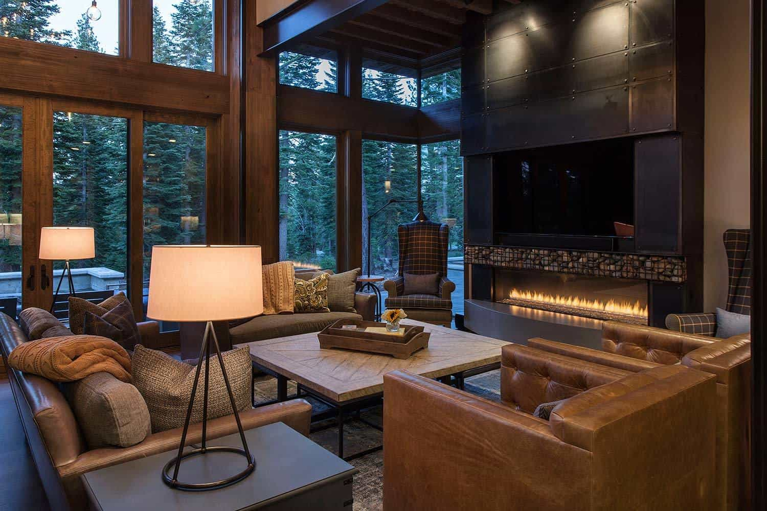 Lake tahoe getaway features contemporary barn aesthetic for Interior design 70s house