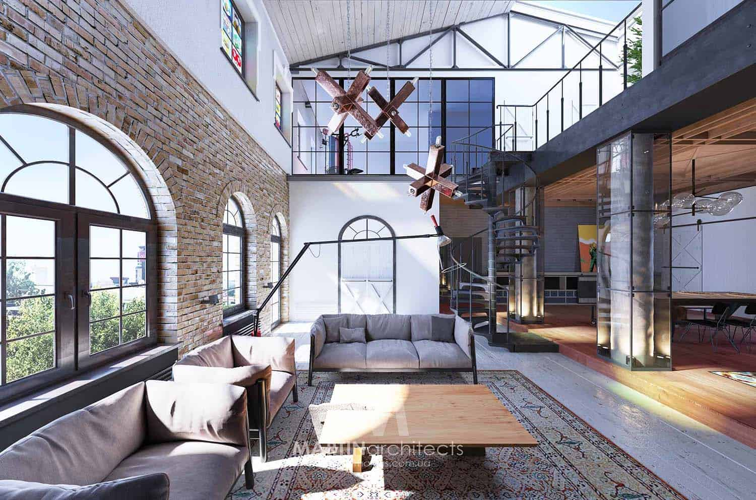 Industrial style loft in kiev showcases impressive design for Martin architects