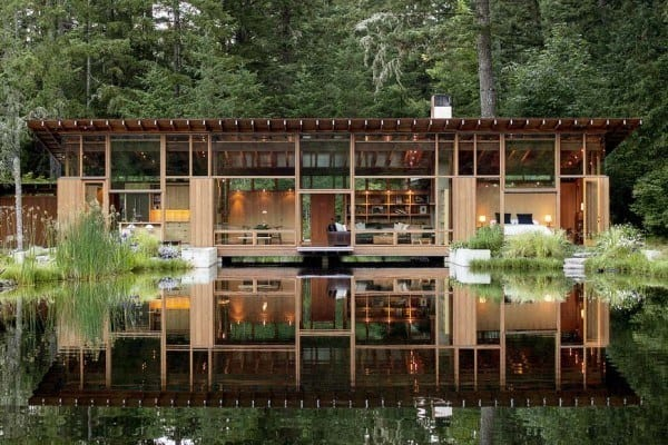 featured posts image for An Oregon home floats above a pond to connect with nature