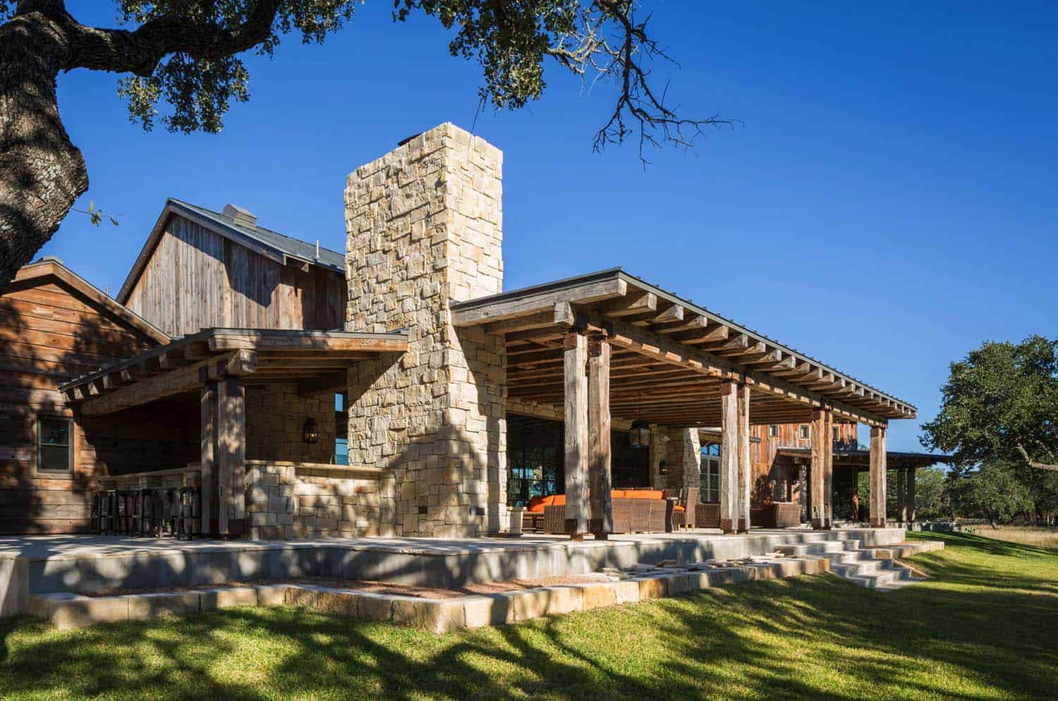Modern Rustic Barn Retreat Texas on Custom Ranch House Plans With Porches