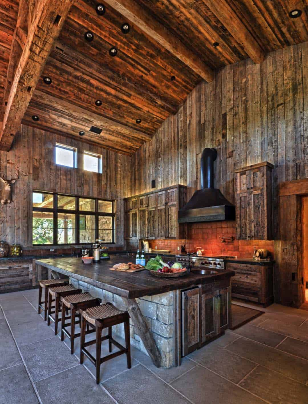 Modern rustic barn style retreat in texas hill country for Modern barn kitchen