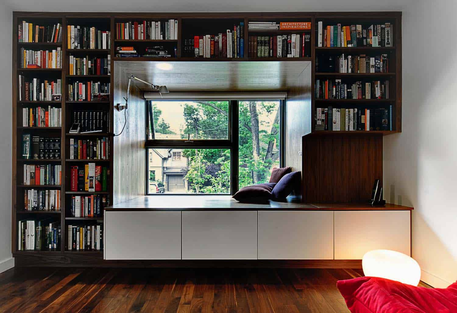 Home Library with Window Seat-04-1 Kindesign