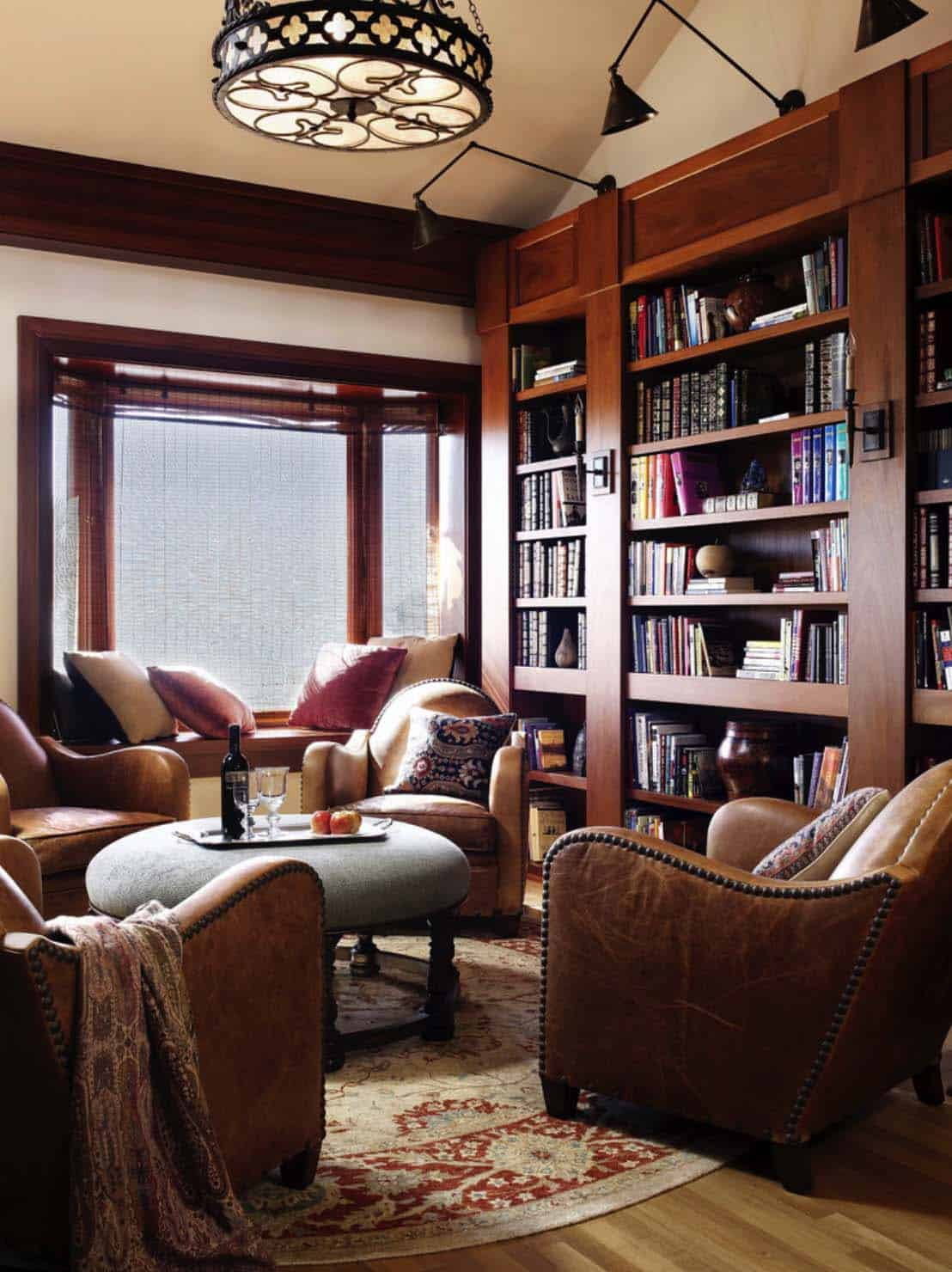 Home Library with Window Seat-11-1 Kindesign