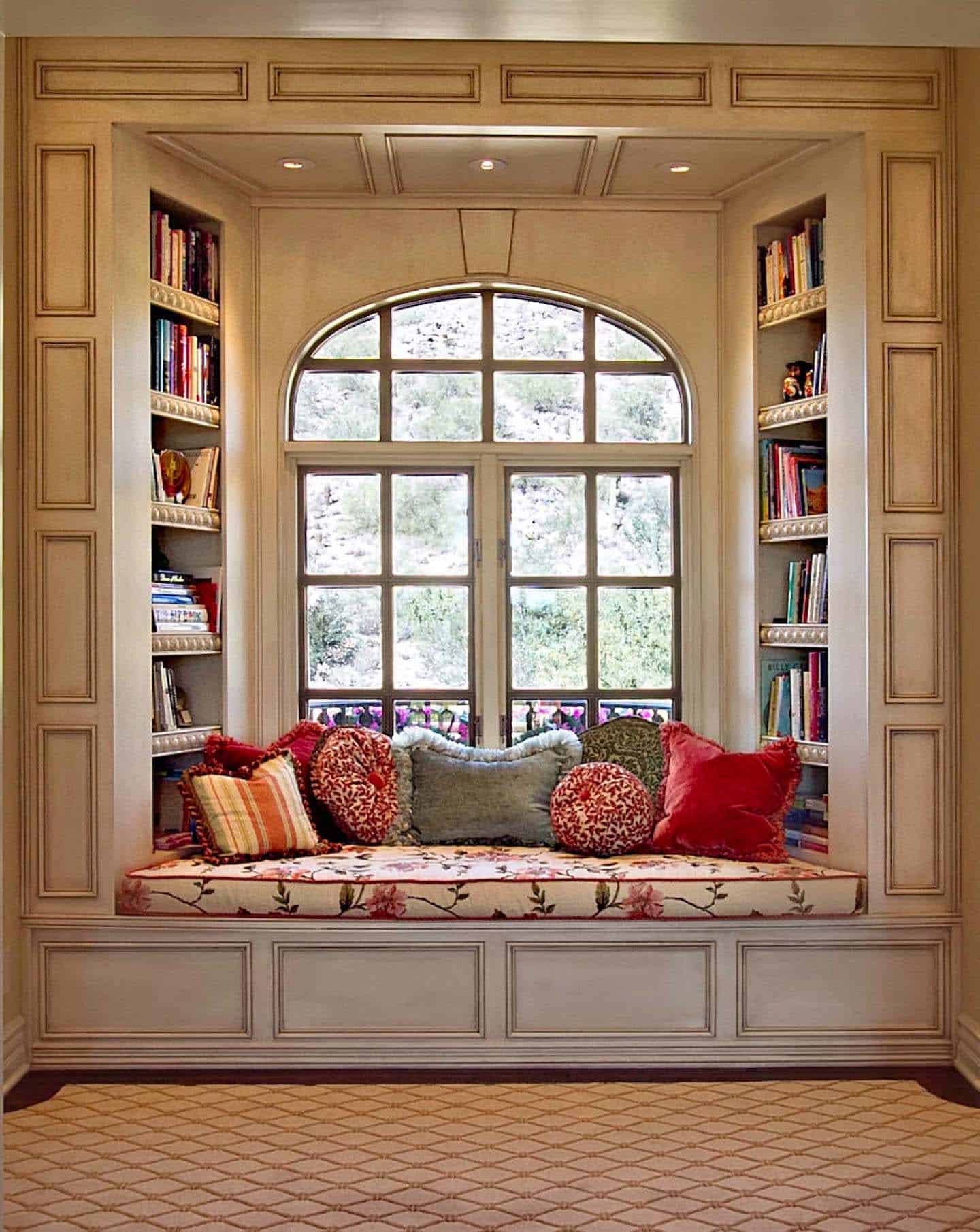 Home Library with Window Seat-18-1 Kindesign