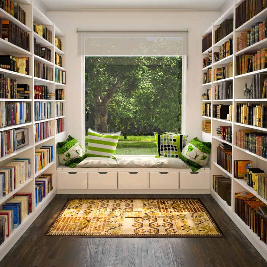 Home Library with Window Seat-30-1 Kindesign