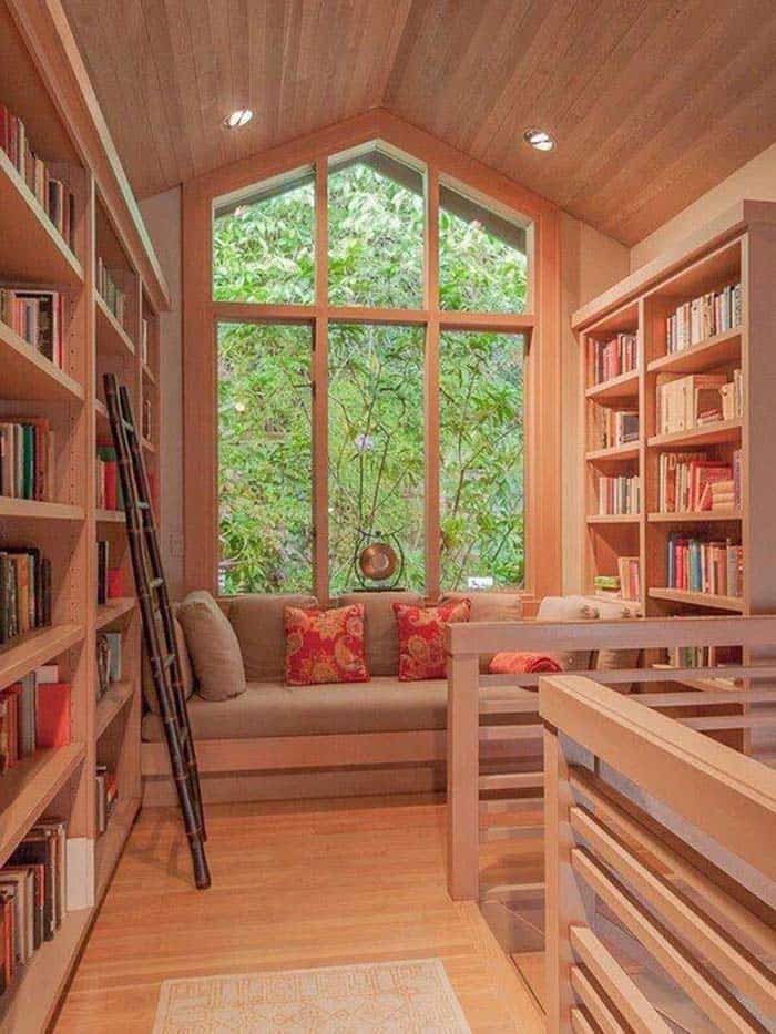 Home Library with Window Seat-32-1 Kindesign