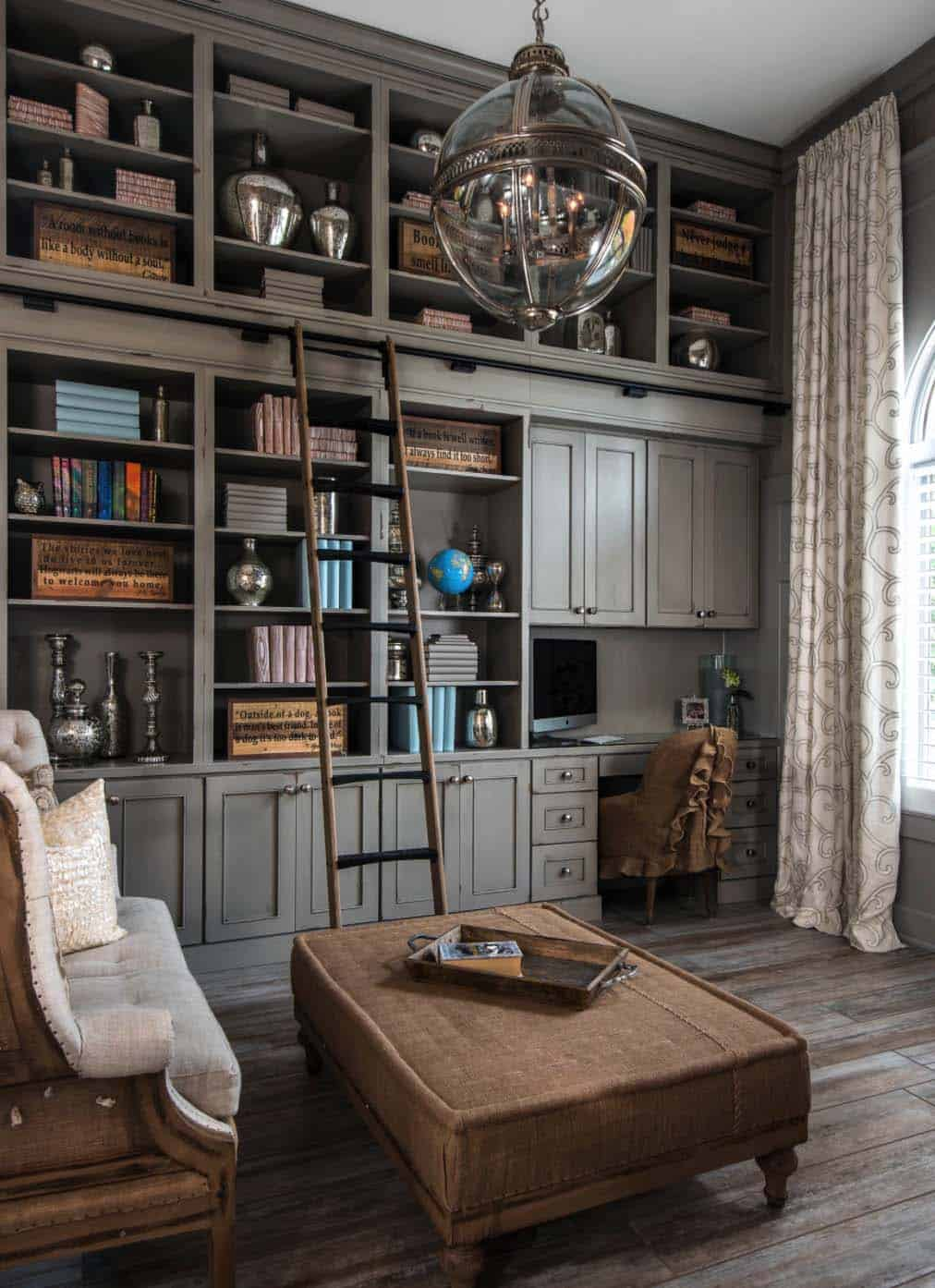 28 dreamy home offices with libraries for creative inspiration - Home office living room ideas ...