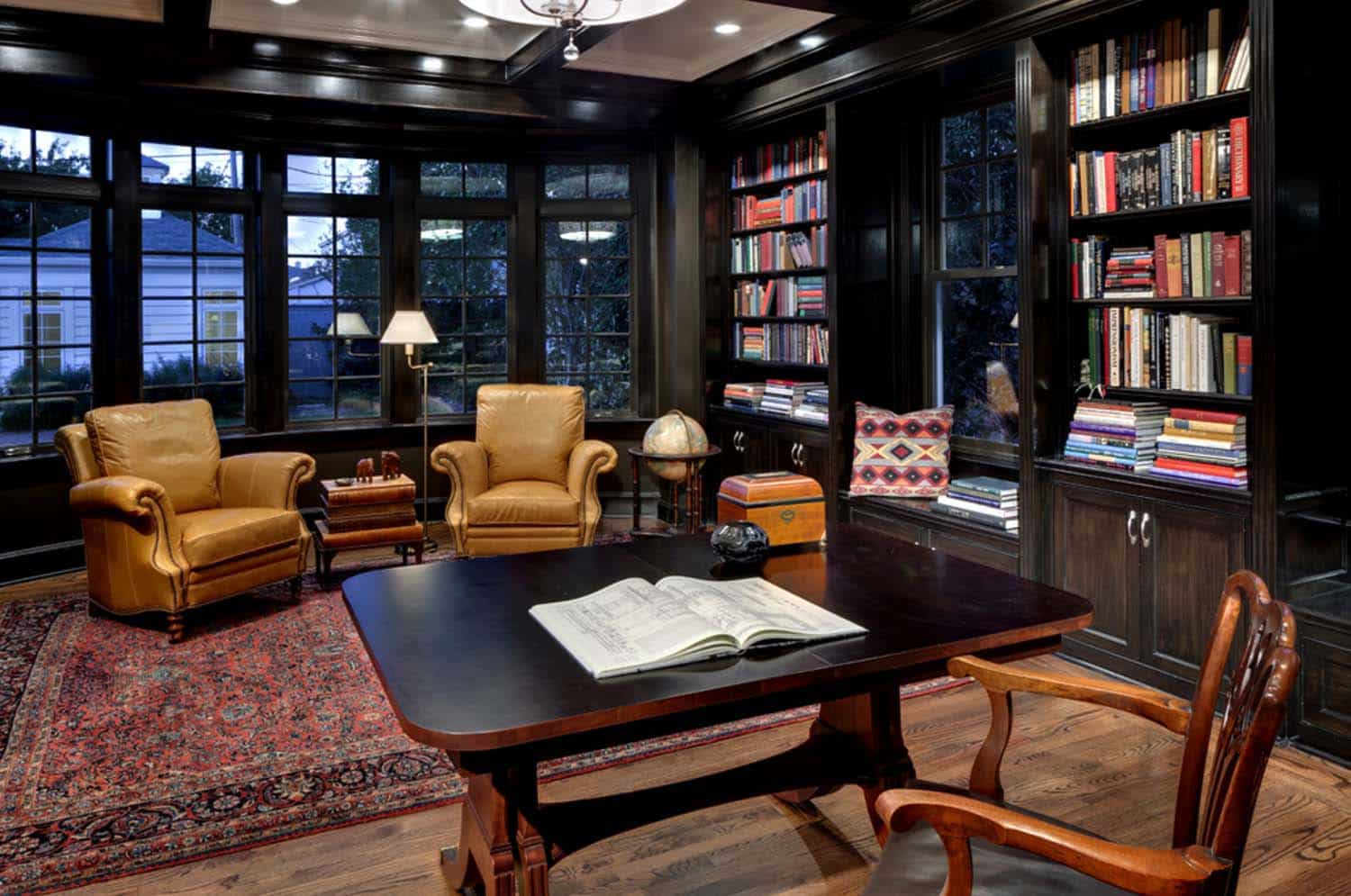 28 dreamy home offices with libraries for creative inspiration for Your inspiration at home back office