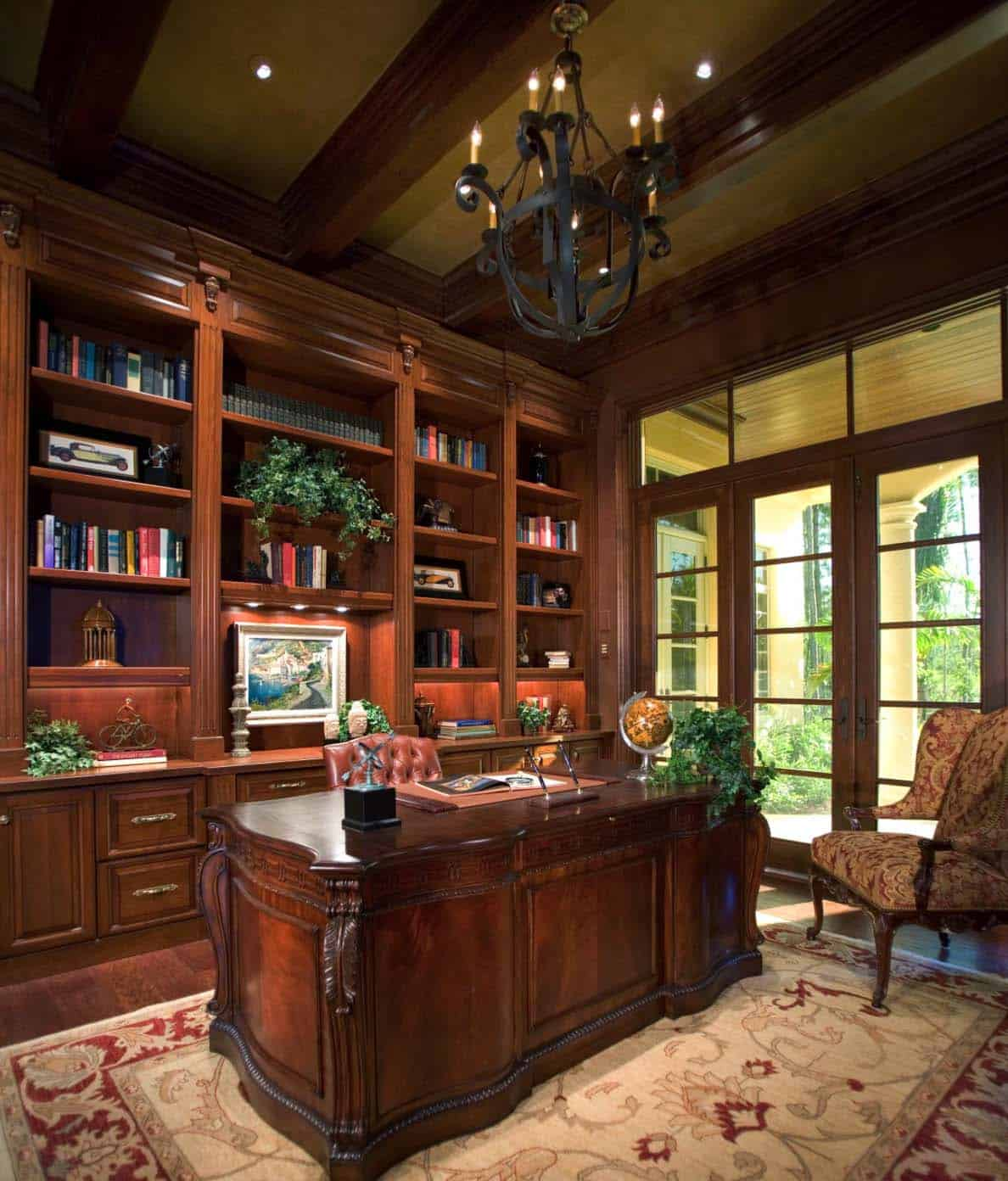Mahogany Home Library Office: 28 Dreamy Home Offices With Libraries For Creative Inspiration