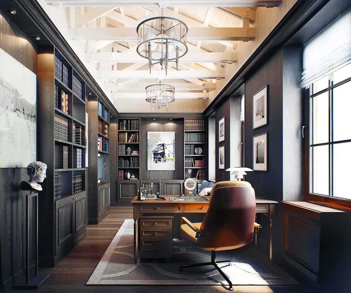 Home Inspiration: 28 Dreamy Home Offices With Libraries For Creative Inspiration
