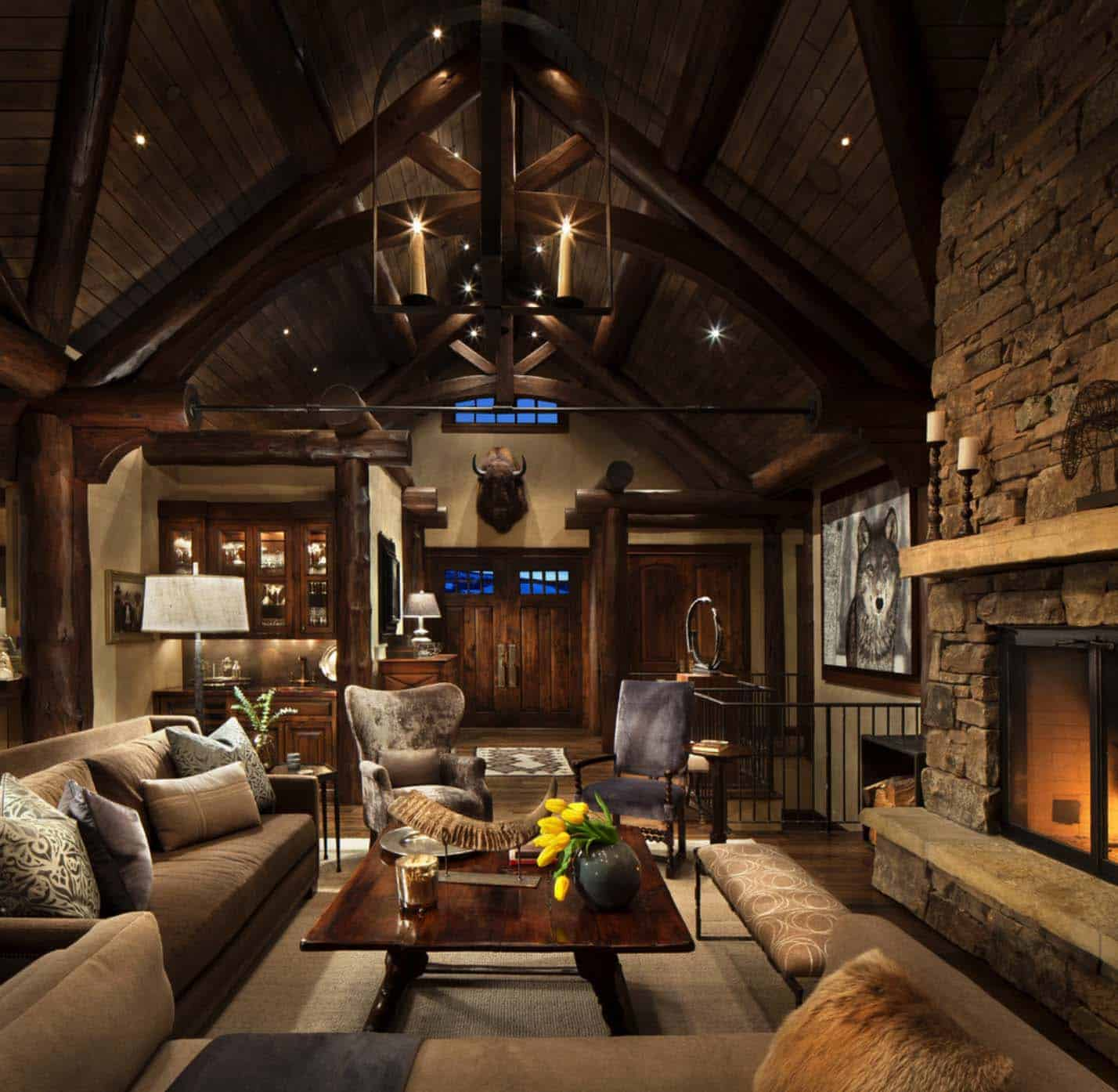 21 Fabulous Rustic Glam Living Room Decor Ideas: Exquisite Mountain Home Remodel Mixes Rustic With Modern