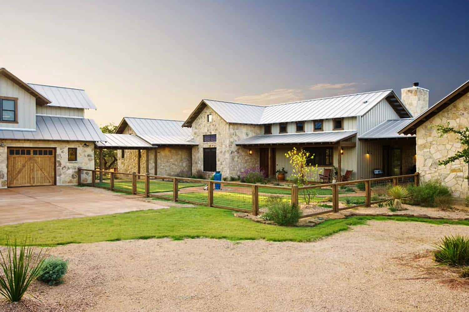 Rustic ranch house designed for family gatherings in texas for Exterior ranch house designs
