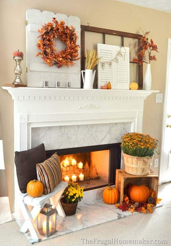 Phenomenal 30 Amazing Fall Decorating Ideas For Your Fireplace Mantel Home Interior And Landscaping Dextoversignezvosmurscom