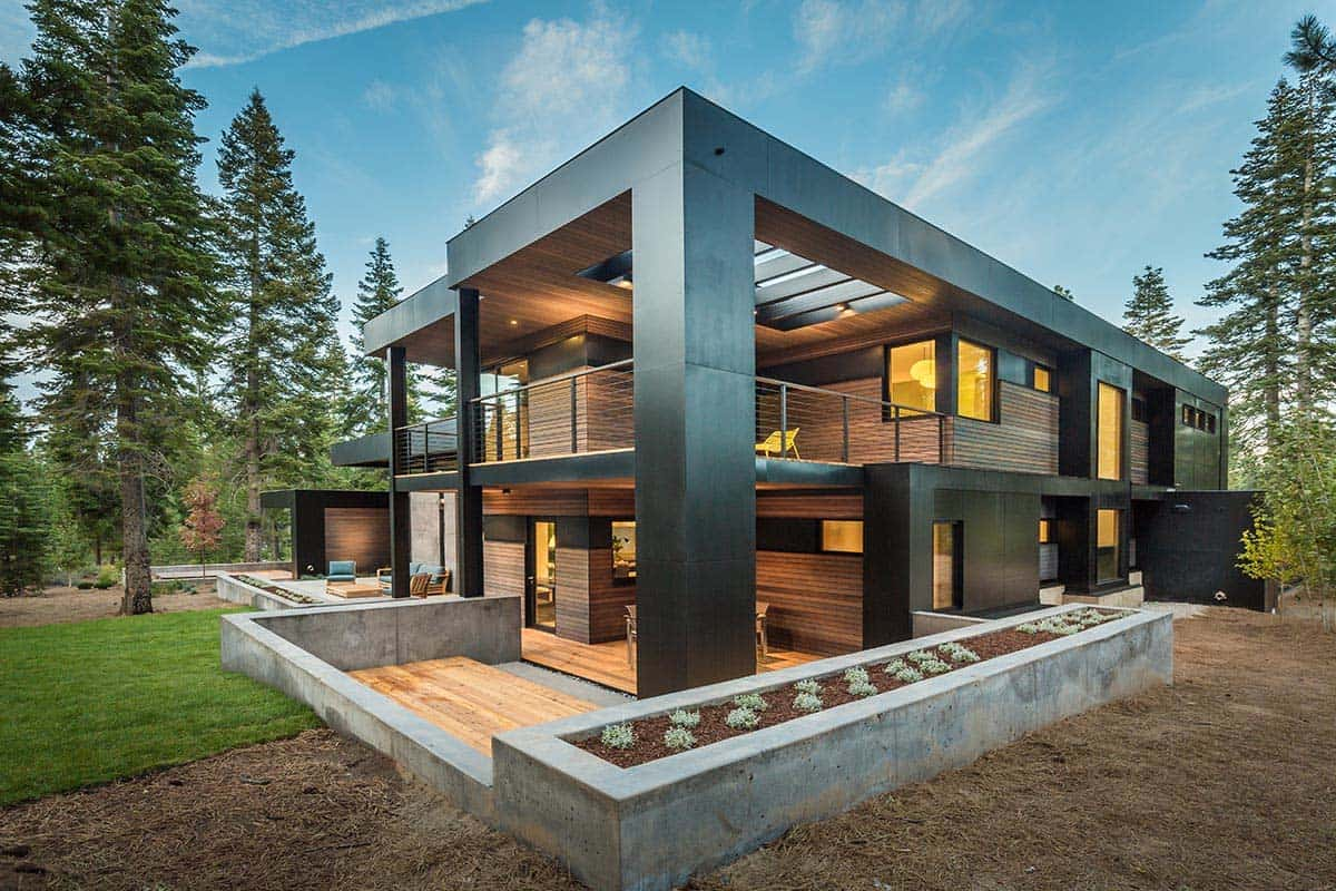 Spectacular mountain modern family home in martis camp for Montain house