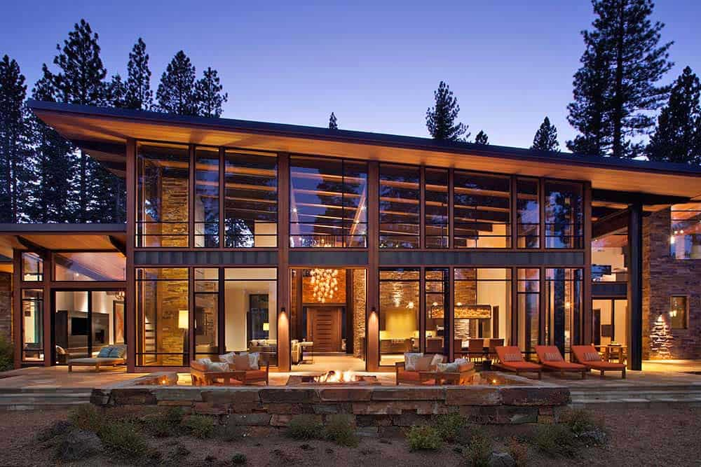Fabulous mountain modern retreat in the high sierras for Modern mountain home plans